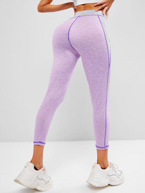 hot Space Dye Two Tone Topstitch Gym Leggings - LIGHT PURPLE L Mobile