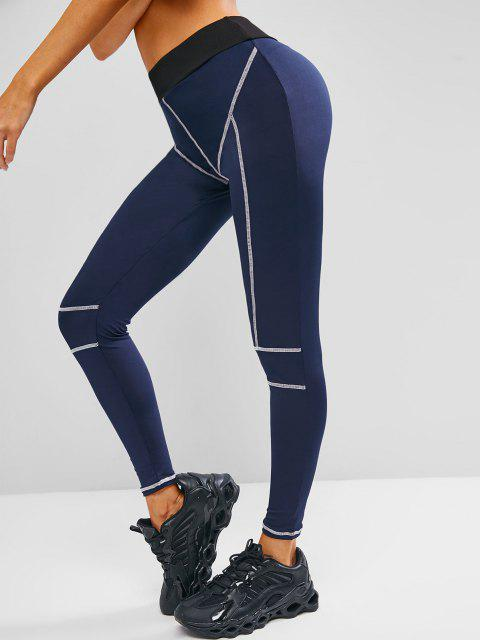 Legging de Gymnastique Rayure Contrastée à Taille Haute - Bleu profond L Mobile
