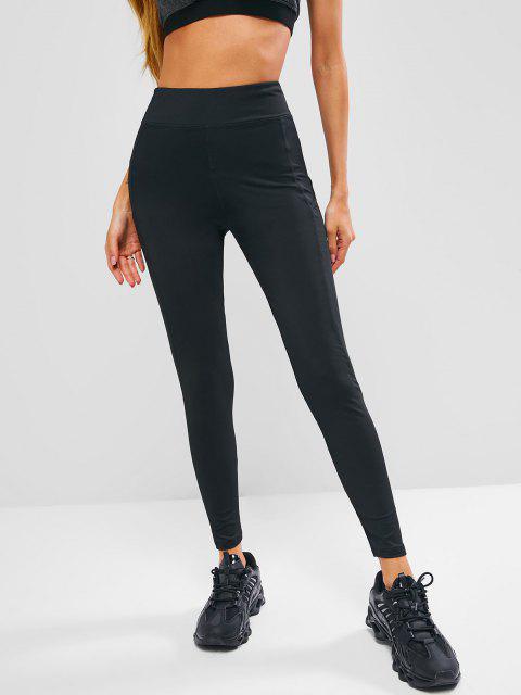 buy Side Pocket Topstitch Workout Gym Leggings - BLACK L Mobile