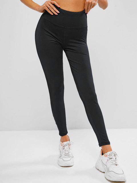 hot Wide Waistband Mesh Panel Stretchy Gym Leggings - BLACK M Mobile
