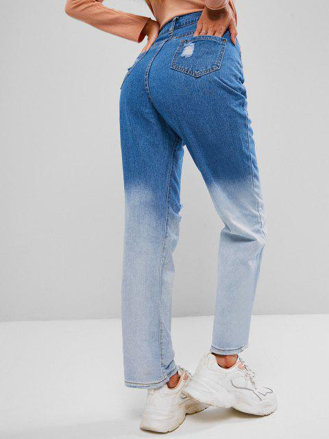 hot Distressed Two Tone Straight Jeans - LAPIS BLUE S Mobile