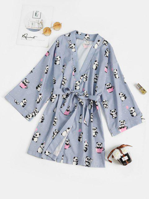 best Belted Funny Panda Star Print Sleep Robe - LIGHT BLUE M Mobile