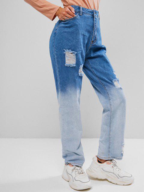 Jeans Rectos de Dos Tonos Rasgados - Lapislázuli M Mobile