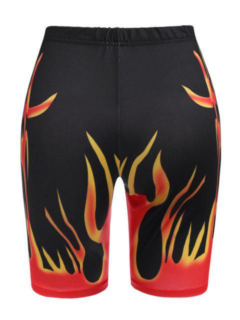 latest High Waisted Hot Flame Print Biker Shorts - BLACK S Mobile