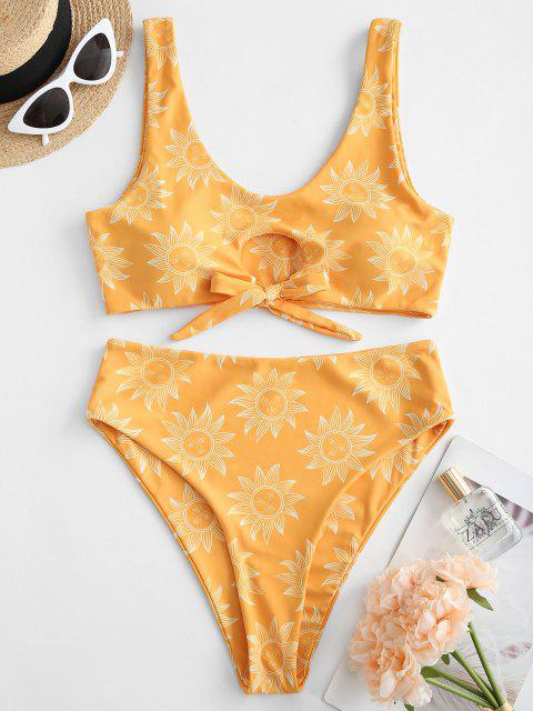 ZAFUL Gebundene Sonnen Tankini Badebekleidung mit Hoher Taille - Gelb S Mobile