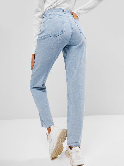 outfits Light Wash Seam Detail Pocket Mum Jeans - LIGHT BLUE XL Mobile