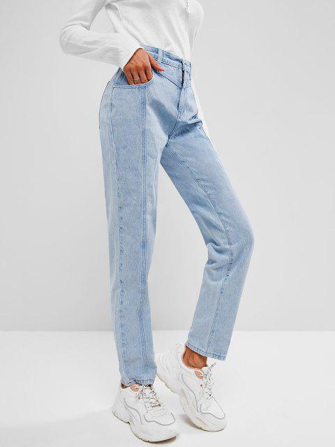 fashion Light Wash Seam Detail Pocket Mum Jeans - LIGHT BLUE L Mobile