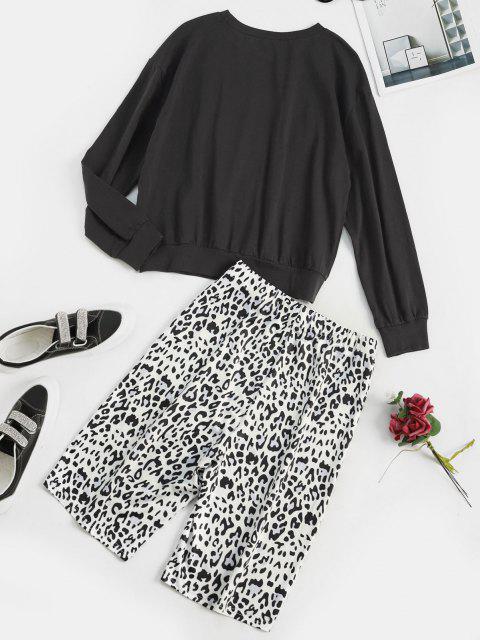 womens Leopard Animal Print Two Piece Biker Shorts Set - BLACK S Mobile
