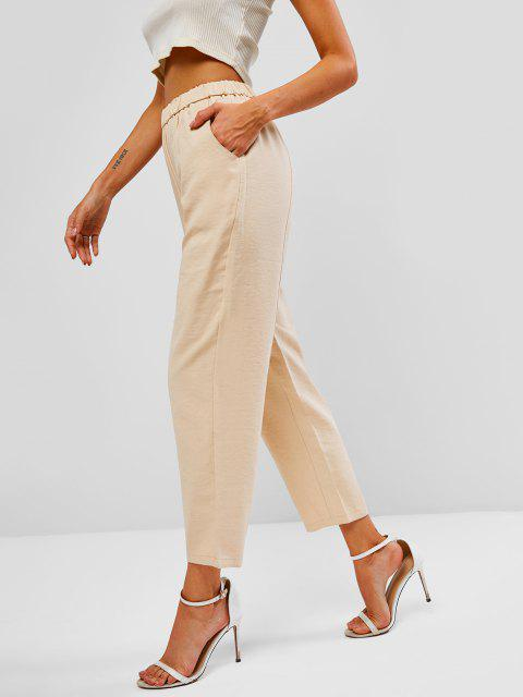outfits Pocket High Waisted Straight Pants - LIGHT COFFEE L Mobile