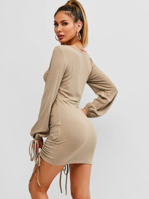 new ZAFUL Ribbed Cinched Tie Ruched Bodycon Mini Dress - CAMEL BROWN S Mobile