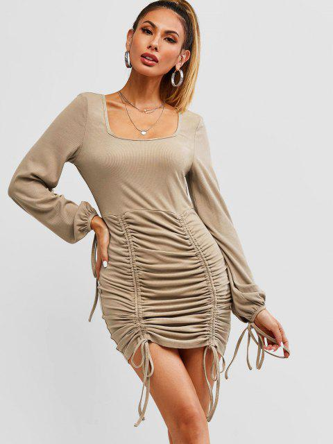 latest ZAFUL Ribbed Cinched Tie Ruched Bodycon Mini Dress - CAMEL BROWN L Mobile