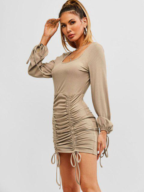 fashion ZAFUL Ribbed Cinched Tie Ruched Bodycon Mini Dress - CAMEL BROWN XL Mobile