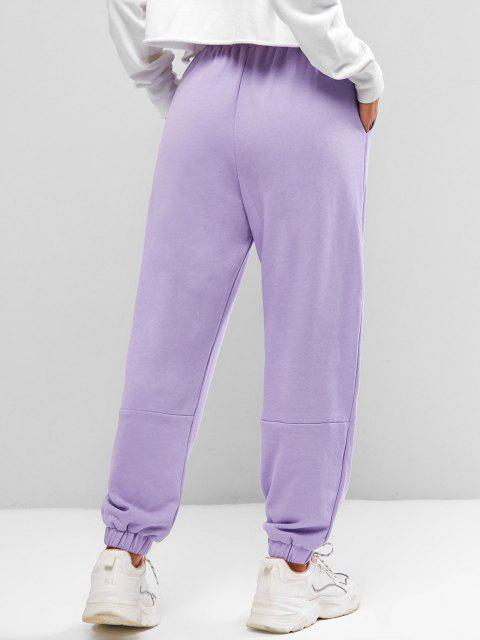 chic Seam Detail American Flag Patched Jogger Sweatpants - LIGHT PURPLE S Mobile
