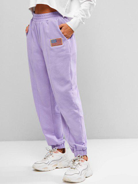 new Seam Detail American Flag Patched Jogger Sweatpants - LIGHT PURPLE M Mobile