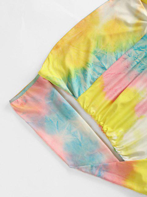 hot Off The Shoulder Tie Dye Ruched Bodycon Dress - YELLOW L Mobile