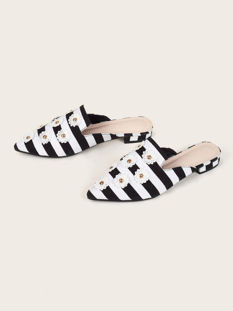 ladies Stripes Embroidery Flower Slides Flat Shoes - MULTI-A EU 38 Mobile