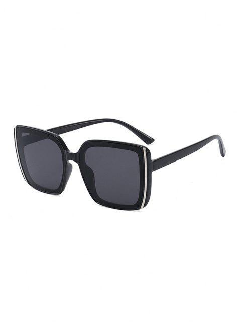 women Stripe Design Square Oversized Sunglasses - BLACK  Mobile