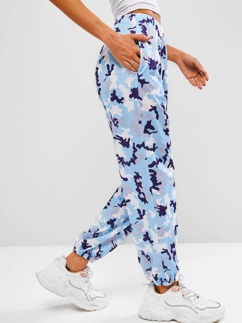 lady Pocket Camo Beam Feet Jogger Sweatpants - LIGHT BLUE S Mobile