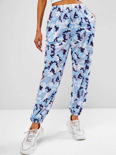 sale Pocket Camo Beam Feet Jogger Sweatpants - LIGHT BLUE M Mobile