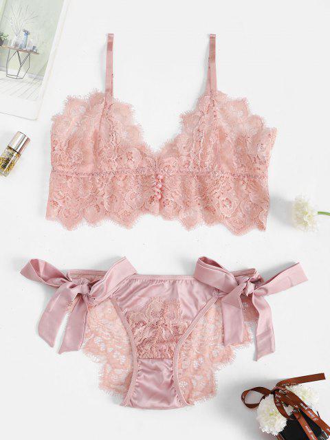 sale Satin Lace Eyelash See Thru Bralette Set - LIGHT PINK M Mobile
