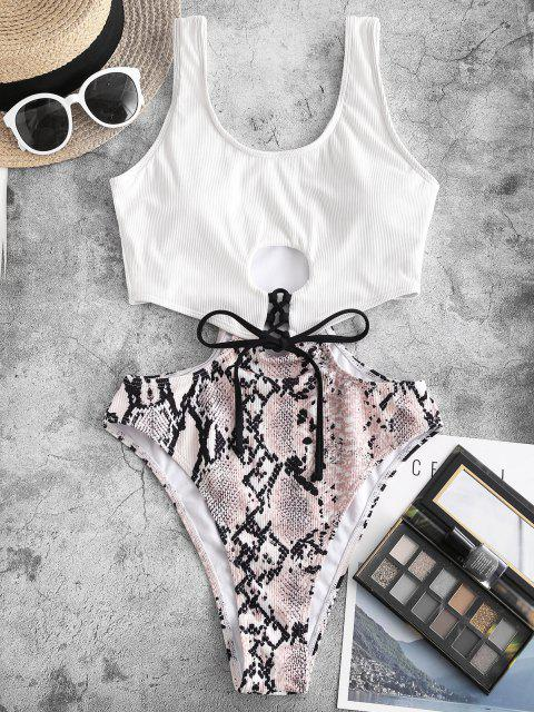 outfit ZAFUL Ribbed Snake Print Cutout One-piece Swimsuit - LIGHT COFFEE S Mobile
