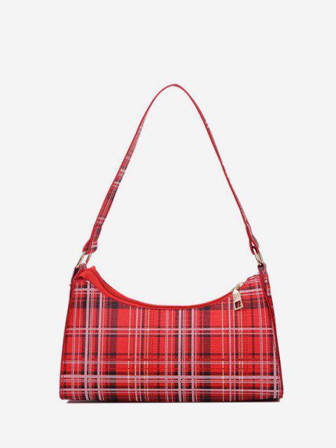hot Rectangle Plaid Pattern Shoulder Bag - RED  Mobile