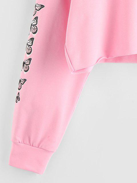 shops ZAFUL Half Zip Butterfly Print Cropped Hoodie - LIGHT PINK L Mobile
