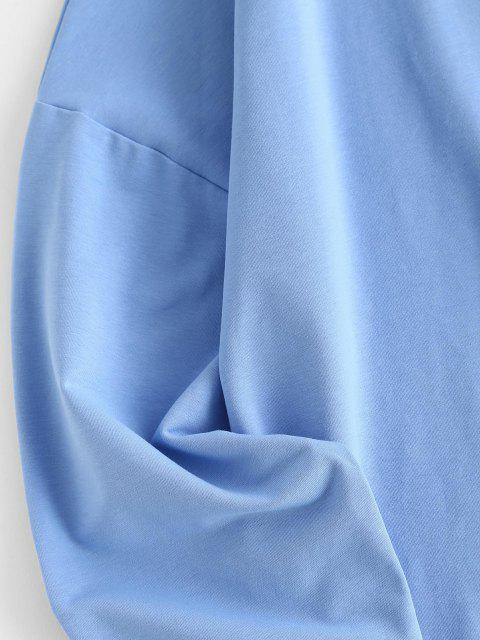 womens Plain Lounge Sweat Two Piece Set - BLUE M Mobile