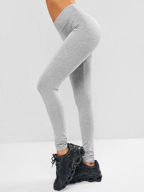 womens Heather Topstitching Skinny Leggings - LIGHT GRAY L Mobile