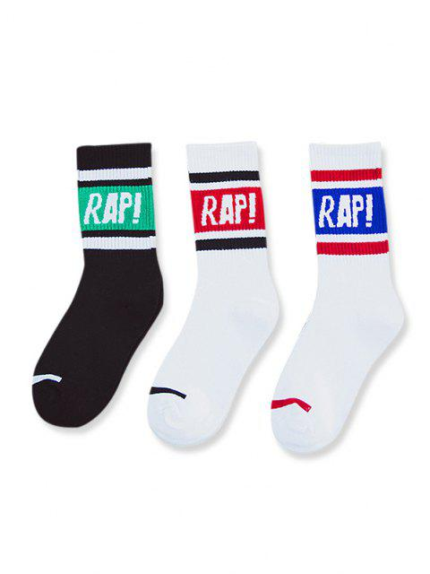 online 3 Pairs Letter Colorblock Crew Socks Set - MULTI-A  Mobile