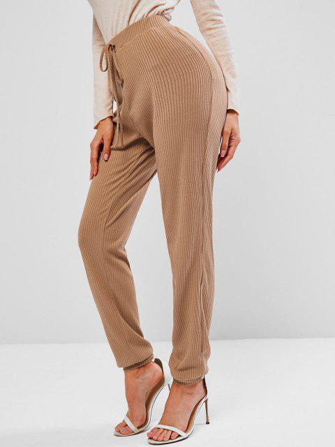 ZAFUL Pantalones Tejido con Cintura Alta - Azúcar Morena M Mobile