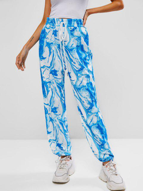 lady ZAFUL Agate Print Bowknot Toggle Drawstring Hem Pants - LIGHT BLUE M Mobile