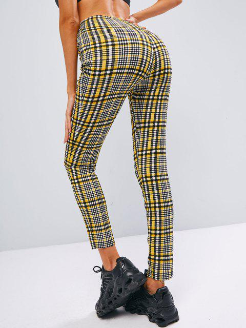 sale ZAFUL Plaid High Waisted Skinny Leggings - MULTI-A M Mobile