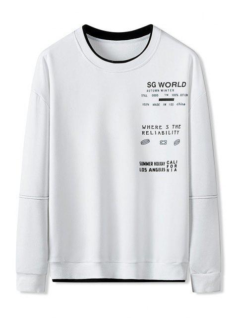 Sweat-shirt Lettreen Blocs de CouleursJointifà Col Rond - Blanc XL Mobile