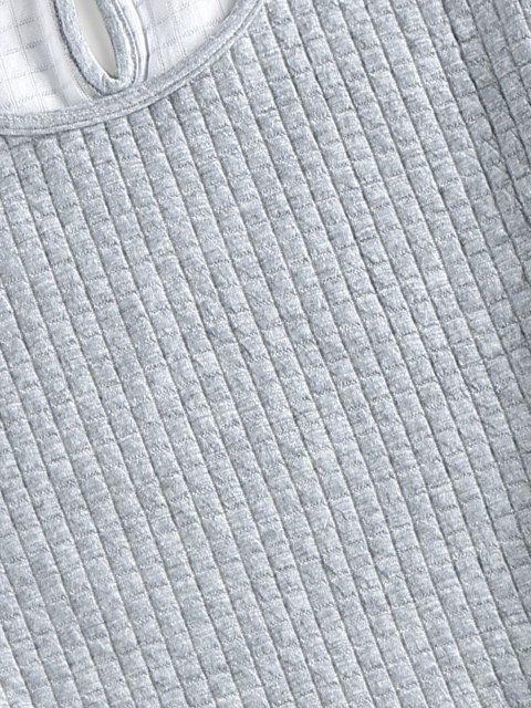lady ZAFUL Textured Keyhole Beam Feet Two Piece Pants Set - GRAY CLOUD XL Mobile