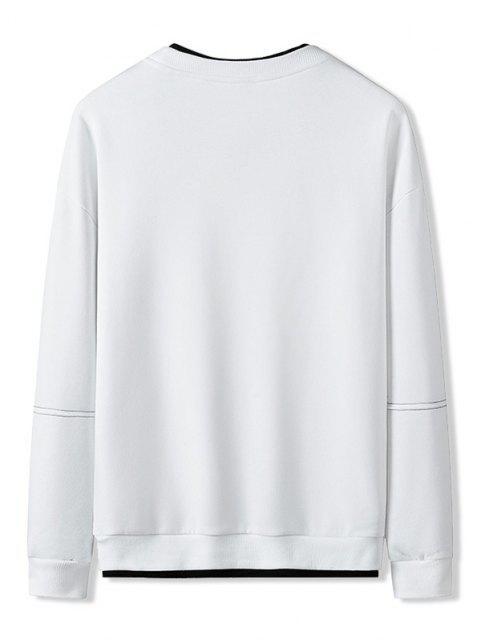 womens Colorblock Letter Patch Crew Neck Sweatshirt - WHITE S Mobile