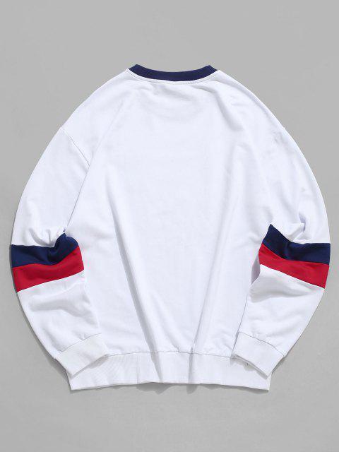 hot ZAFUL Colorblock Letter Graphic Casual Drop Shoulder Sweatshirt - WHITE 2XL Mobile