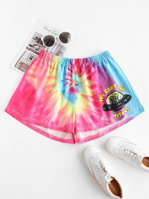 women's Aliens Graphic Tie Dye Sweat Shorts - MULTI XL Mobile