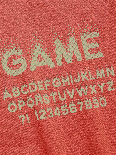 Sweat-shirt Lettre Contrasté Imprimé Numérique - Orange vif XS Mobile