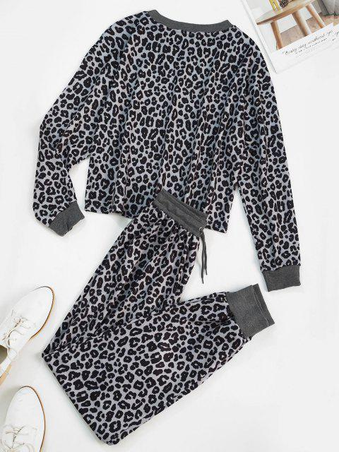 shops Leopard Ribbed Trim Sweat Two Piece Set - LEOPARD M Mobile