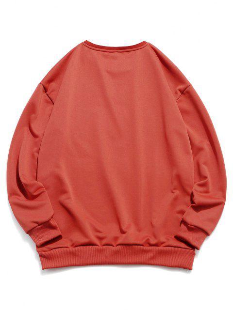 Sweat-shirt Lettre Contrasté Imprimé Numérique - Orange vif S Mobile