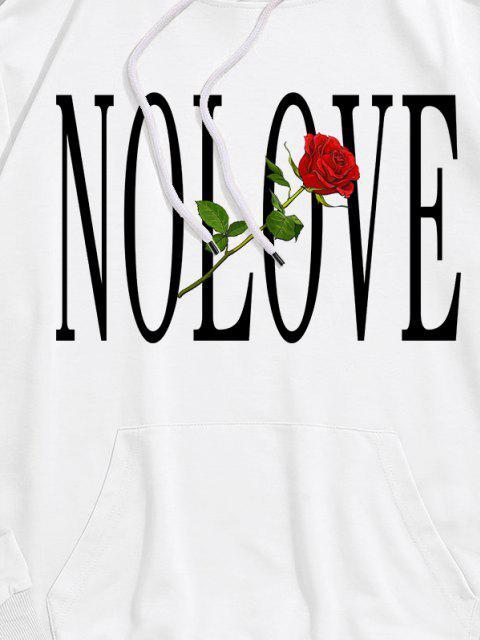 ZAFUL Rose Blumen Buchstabedruck Vordertasche Hoodie - Weiß S Mobile