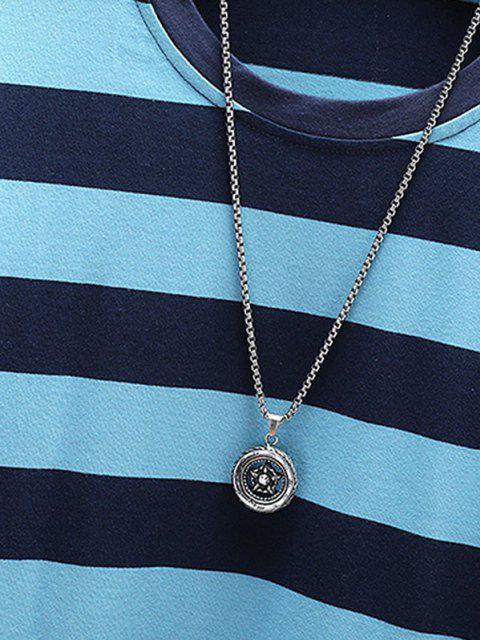 Letter Applique Striped Print T-shirt - أزرق L Mobile
