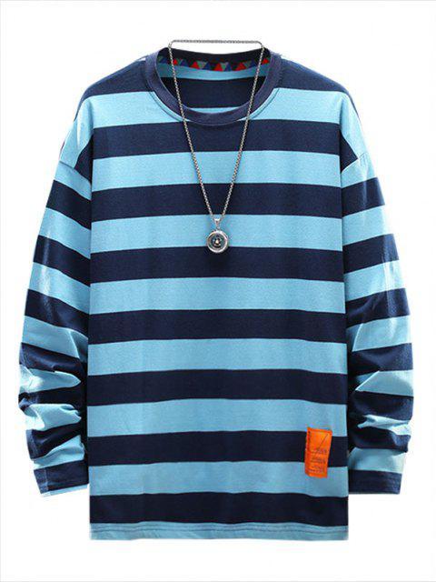 Camisa Listrada com Aplicação Listrada e Letras - Azul-celeste 4XL Mobile