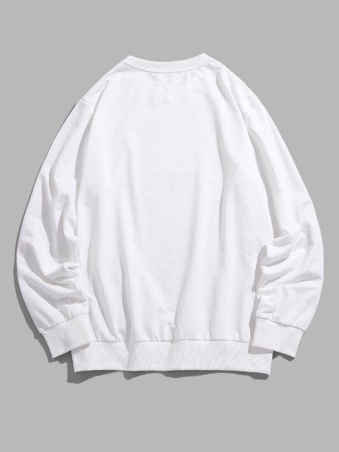 unique ZAFUL Letter Side Stripe Pattern Crew Neck Sweatshirt - WHITE 2XL Mobile