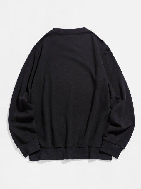 women's ZAFUL Funny Drip Face Print Crew Neck Sweatshirt - BLACK M Mobile