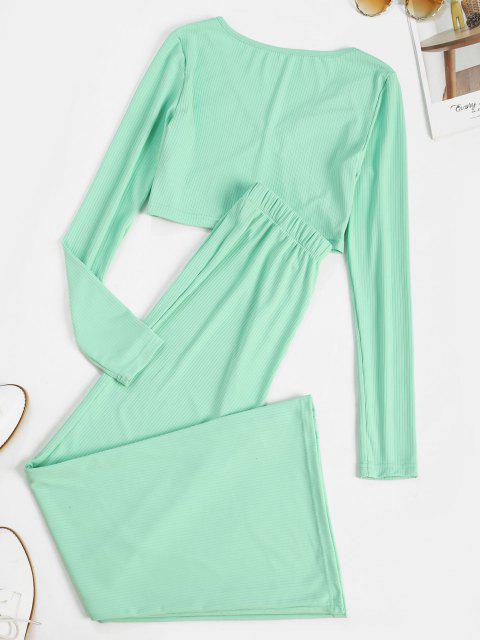 shop Ribbed Surplice Wide Leg Two Piece Pants Set - GREEN S Mobile