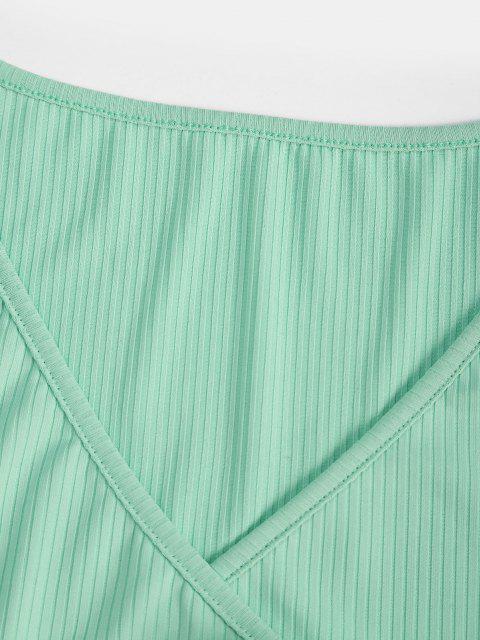 chic Ribbed Surplice Wide Leg Two Piece Pants Set - GREEN XL Mobile