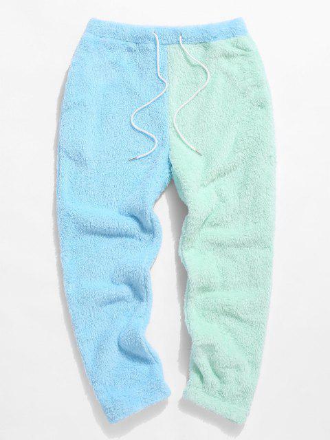 ZAFUL Pantalones Mullidos de Panel de Color Bloque - Azul claro L Mobile