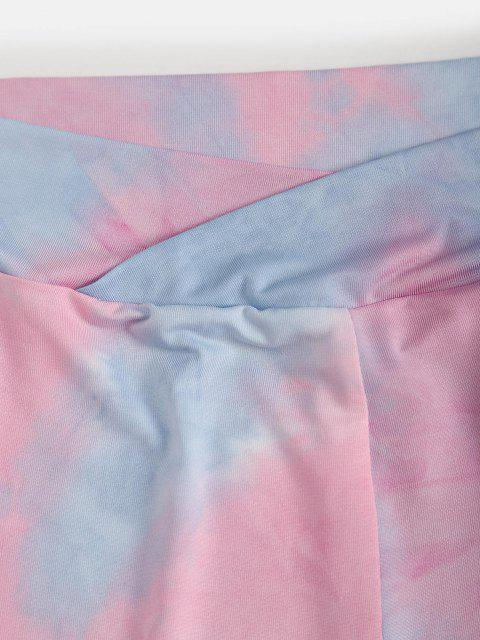 trendy Tie Dye Wide Waistband Shorts - LIGHT PINK S Mobile